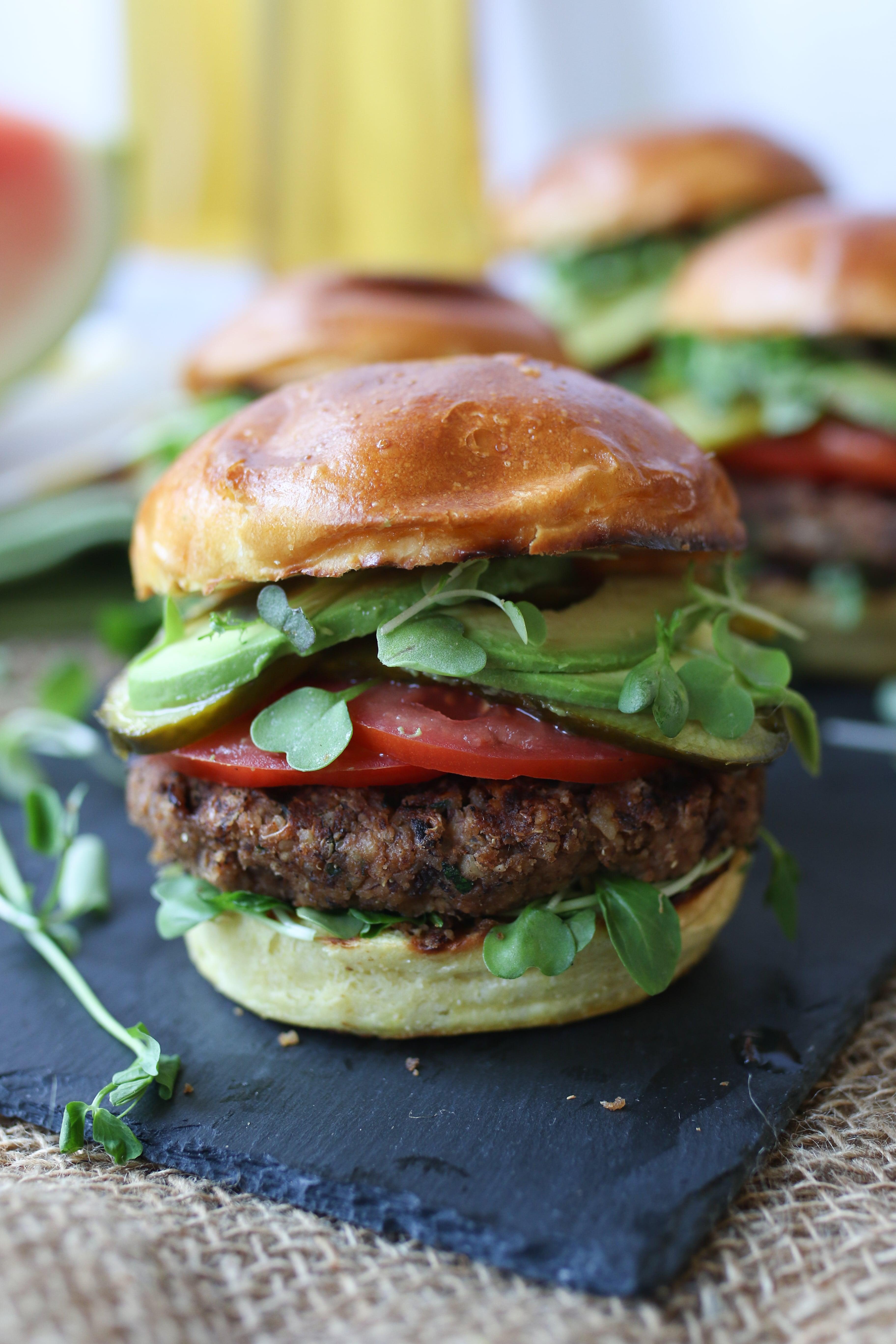 A close up photo of a burger.