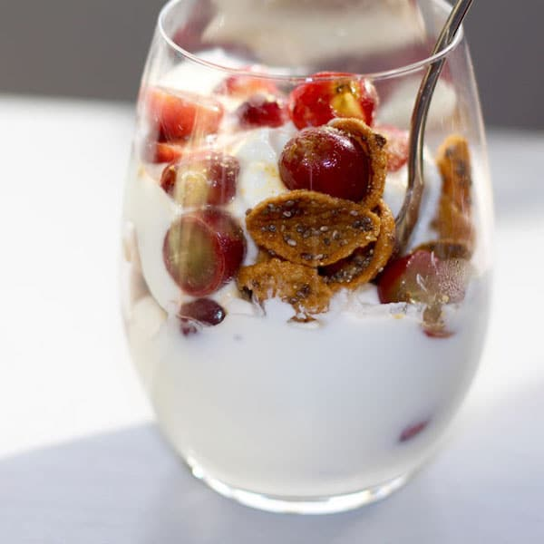 yogurt parfait in a glass