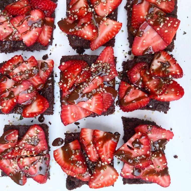 chia seed brownies with strawberries on top