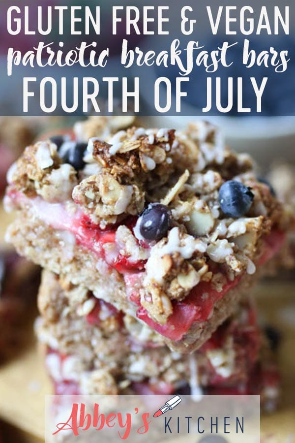 These Gluten Free Vegan Patriotic Oatmeal Breakfast Bars are the perfect way to celebrate the Fourth of July! #glutenfreefood #veganfood #patriotic #fourthofjuly #canadayday #breakfast #breakfastbars #vegancommunity #healthyeats #oatmeal #berries #fruit