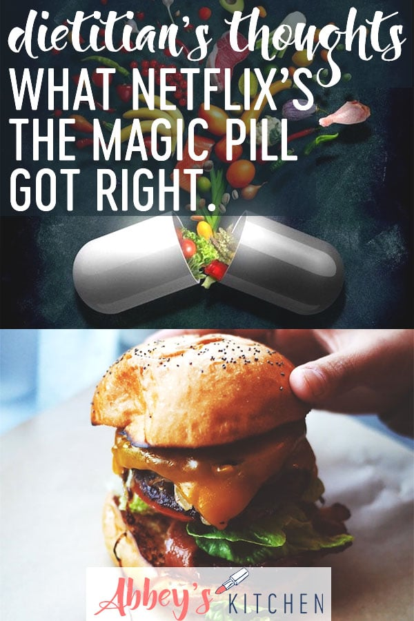 pinterest image of a graphic of a pill above an image of a hamburger with text overlay