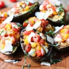 This Keto Grilled Avocado Bruschetta is the perfect Low Carb and Gluten Free Summer BBQ Recipe for outdoor entertaining and snacking.