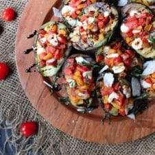 ThisKeto Grilled Avocado Bruschetta is the perfect Low Carb and Gluten Free Summer BBQ Recipe for outdoor entertaining and snacking.