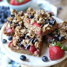 These Gluten Free Vegan Patriotic Oatmeal Breakfast Bars are the perfect way to celebrate the 4th of July and Canada Day with red, white and blue or red and white colours!