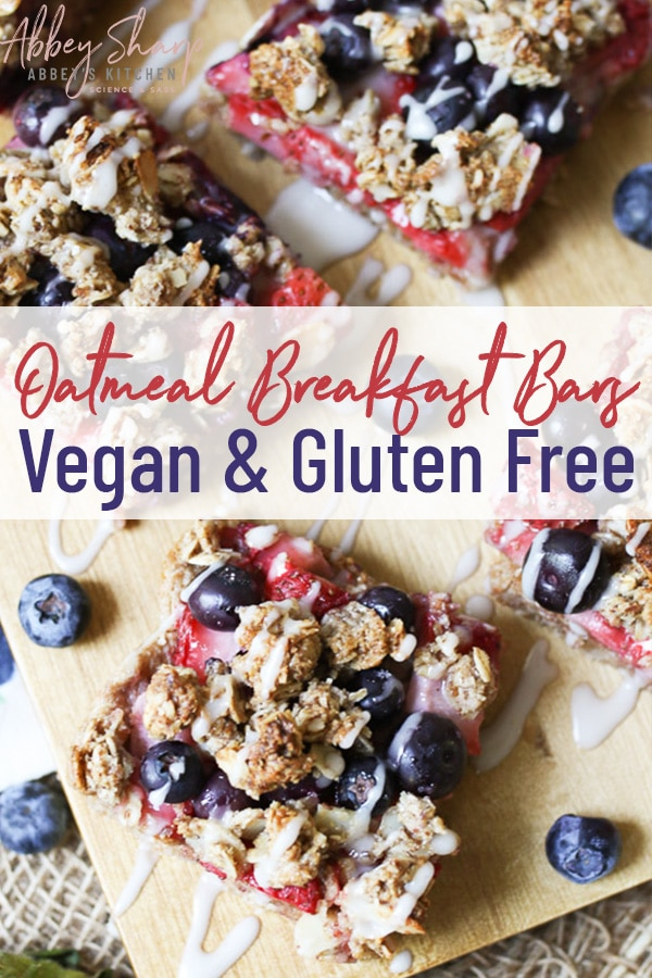 "pinterest image of breakfast bars with the text overlay that says ""oatmeal breakfast bars vegan & gluten free"""