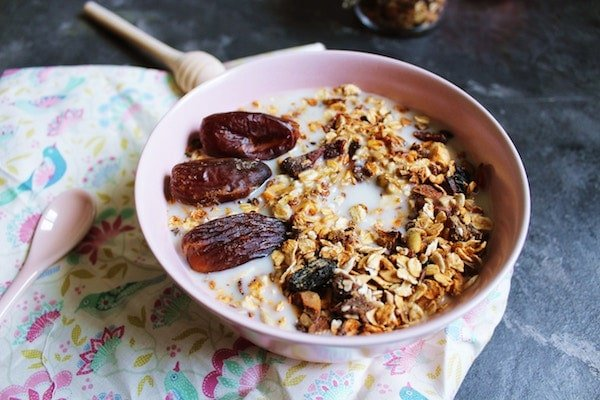 dates in a granola bowl