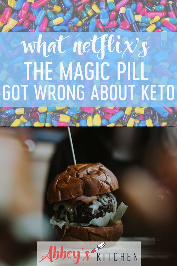 pinterest image of pills above an image of a keto hamburger with text overlay