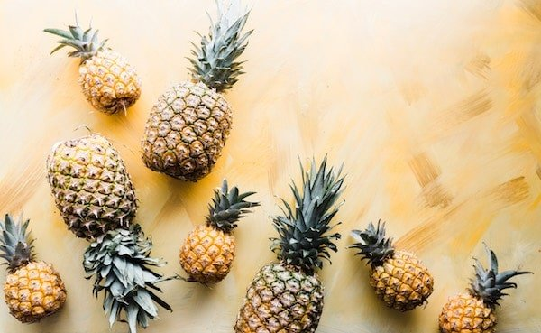 birds eye view of pineapples