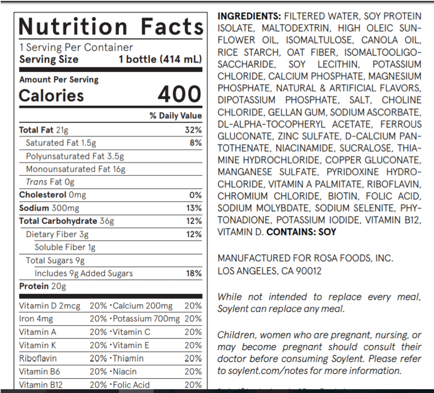 nutrition facts of a meal replacement drink