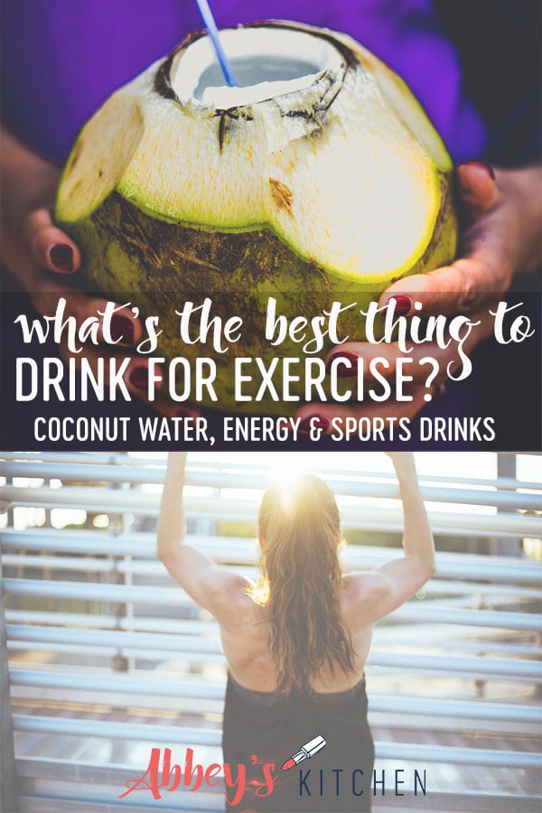 pinterest image of Hands holding coconut and a women exercising outside with text overlay