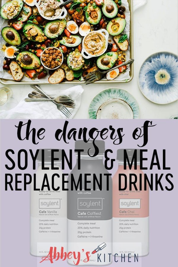 pinterest image of tray with fruits and vegetables above an image of meal replacement drinks with text overlay