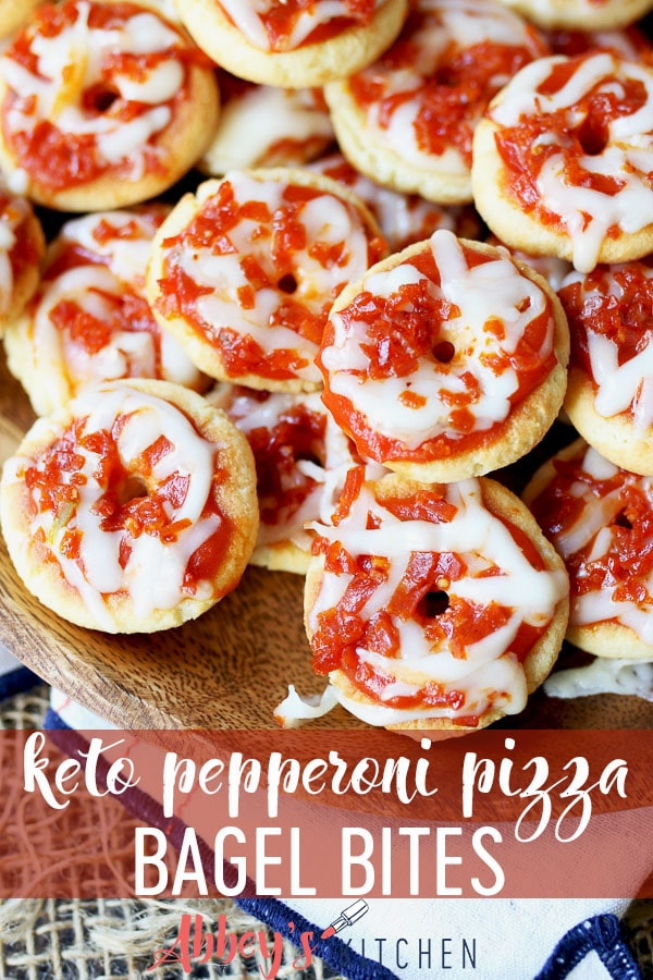 keto pepperoni pizza bagel bites are low carb and gluten free #lowcarb #ketorecipes #bagelbites #pizza #keto #glutenfreefood #partysnack #appetizer #funfood #snacks #lowcarbfood