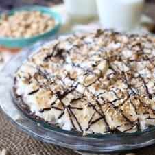 This Frozen Vegan Peanut Butter Pie is a great No Bake, No Sugar Added, Gluten Free, Healthy Nice Cream Dessert that is perfect for Summer when it's too hot to cook or bake dessert!