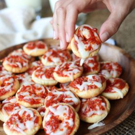 These Keto Pepperoni Pizza Bagel Bites are a great low carb, gluten free snack recipe that will take you back to your 90's childhood.