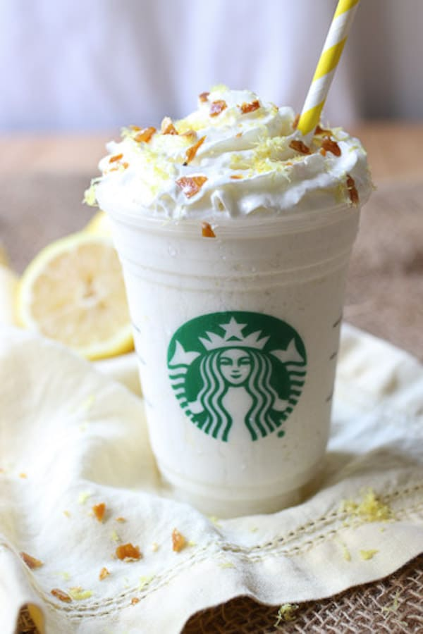 Close up of lemon frappuccino.