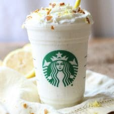I share my healthy vegan lemon bar frappuccino, a must-try Starbucks copy cat recipe to get you through the last few weeks of Summer without all of the excess sugar!