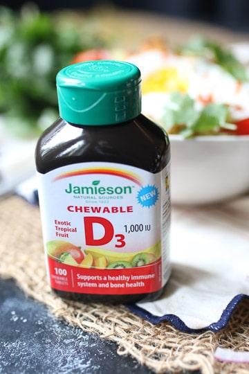 bottle of vitamin D supplements