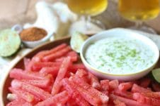 These Watermelon Fries with Coconut Lime Dip are a great Gluten Free, Vegan and Healthy Summer Snack that's perfect for the whole family.