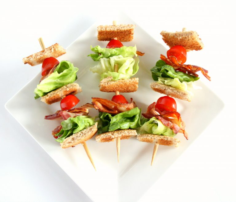 mini BLT sandwiches on a skewer.