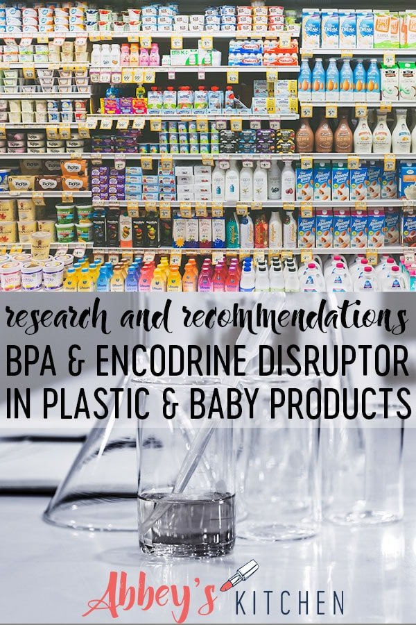 pinterest image of rows of cartons at a grocery store above an image of test tubes and beakers for BPA with text overlay