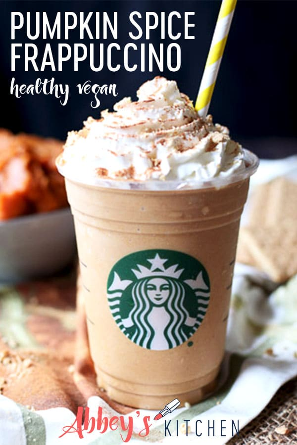 pinterest image of healthy vegan starbucks copycat pumpkin spice frappuccino with text overlay