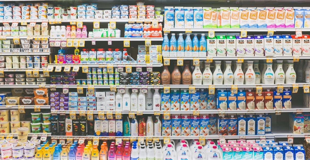 rows of packaged products at the grocery store