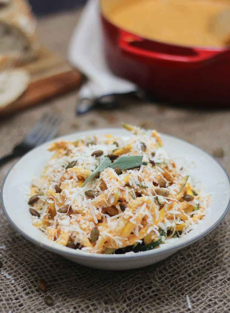 Pumpkin pasta in a bowl.