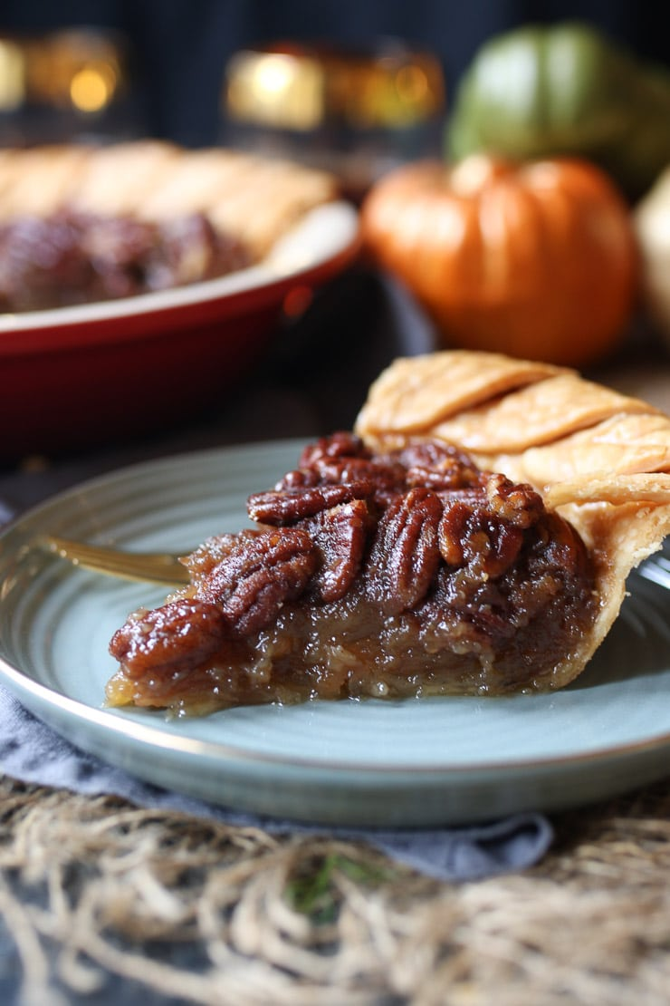 This Vegan Pecan Pie is the perfect Thanksgiving, Christmas and Holiday dessert that is gluten free, dairy-free, plant-based and corn syrup free!