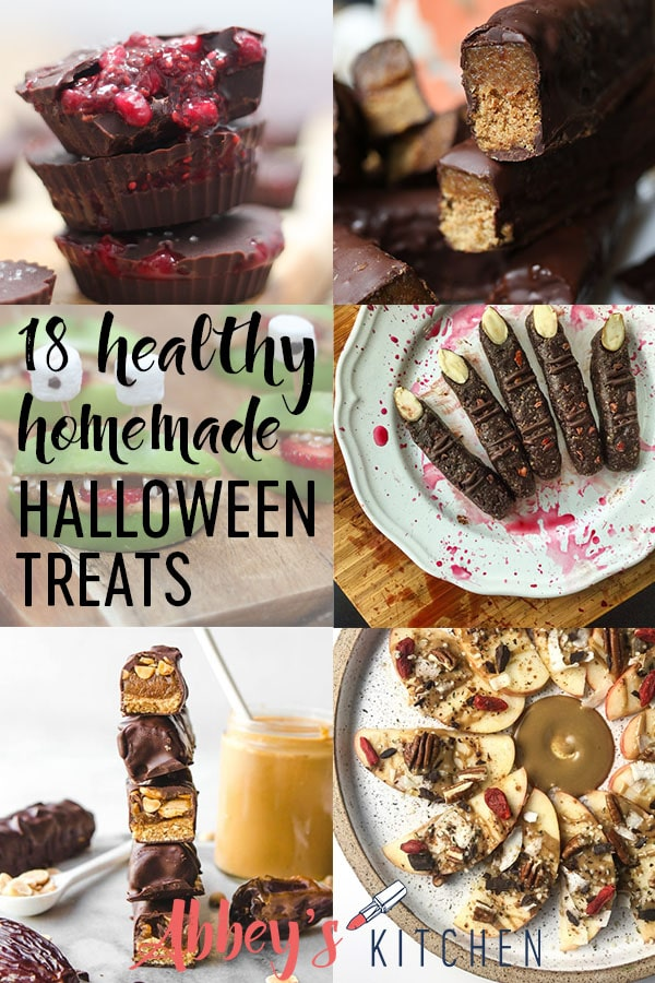 Get creative this Halloween with these easy 18 healthy homemade halloween treats and desserts for kids! #abbeyskitchen #healthytreats #healthyrecipes #healthydessert #halloweencandy #halloween #halloweentreats #easyrecipes #homemadefood #fromscratch