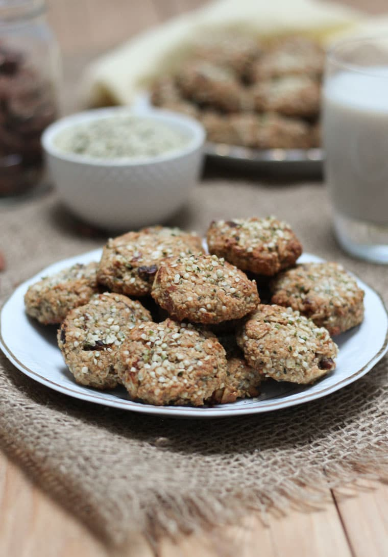gluten free power cookies served on a white dish topped with hemp hearts
