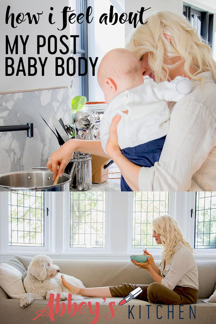 Abbey shares her personal experience about how she feels about her post baby body when the weight-obsessed world seems obsessed with the idea of bouncing back. #abbeyskitchen #postbaby #postbabybody #bodyimage #wellness #health #weightloss #weightgain #pregnancy #newmom #motherhood