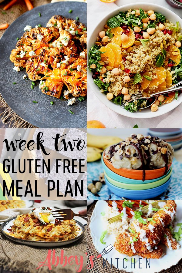 pinterest image of various photos of gluten free recipes for a one week meal plan with text overlay