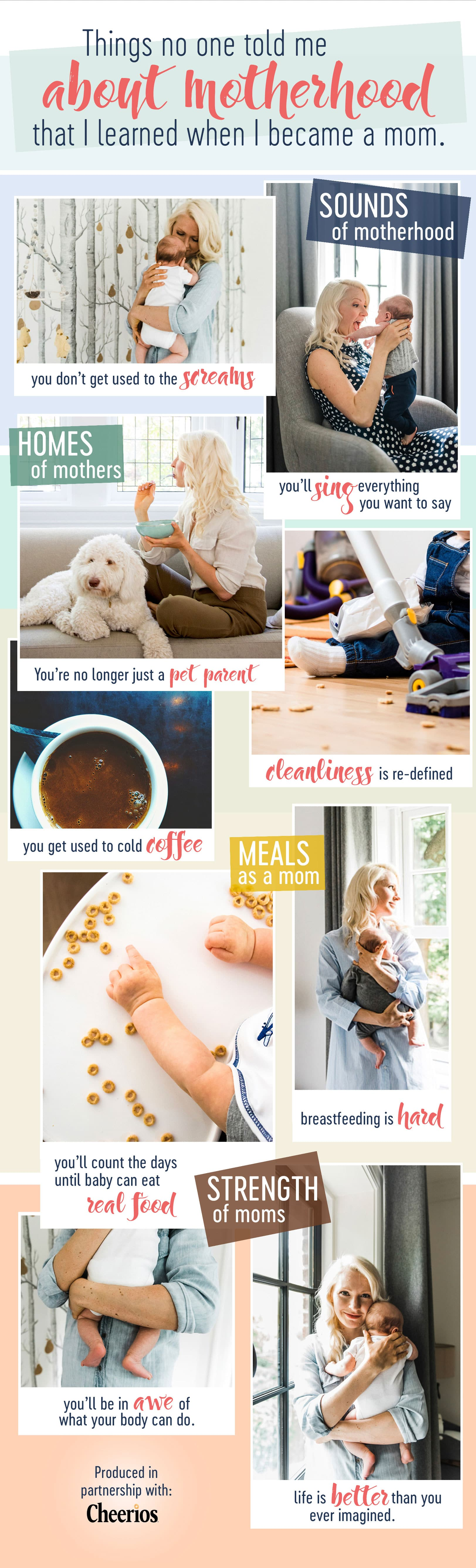 I share the things no one told me about motherhood that I learned when I became a mom in this funny, candid and true tell-all. #abbeyskitchen #motherhood