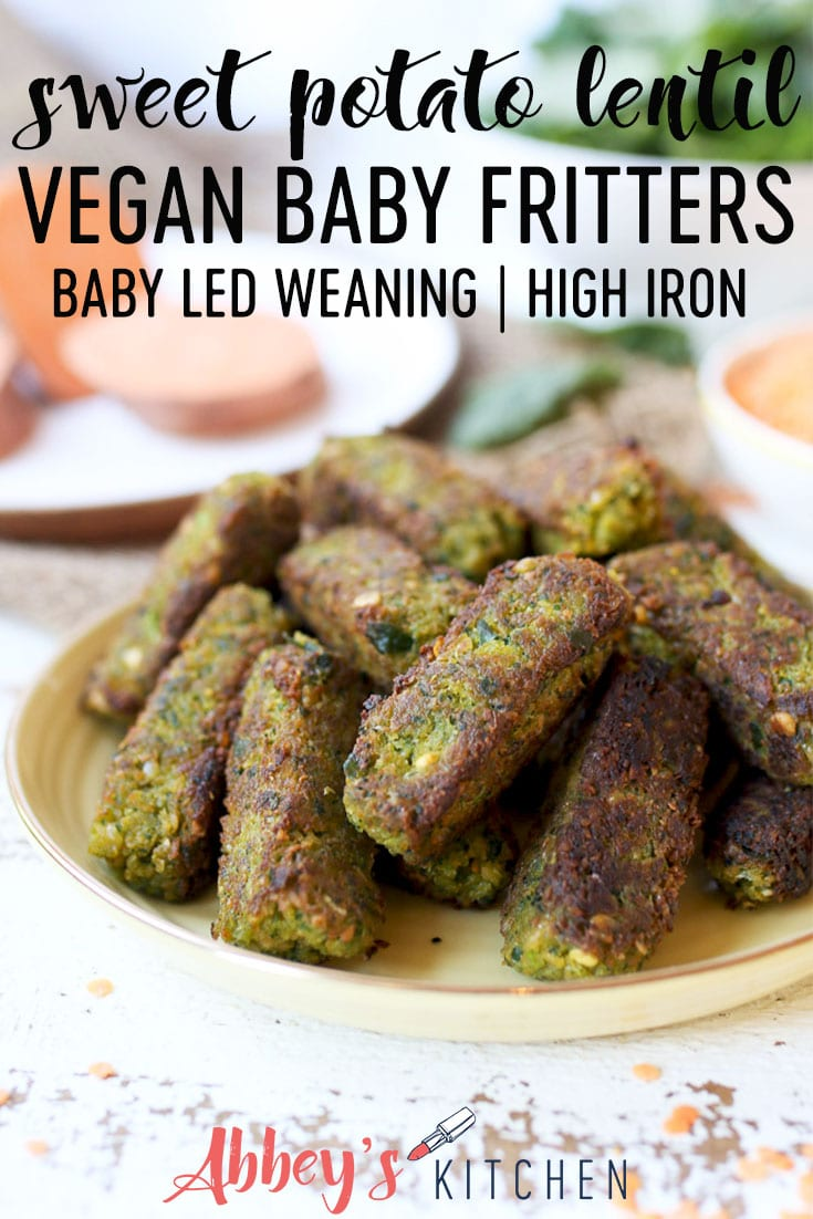 pinterest image of a stack of sweet potato and lentil baby fritters on a white plate with text overlay