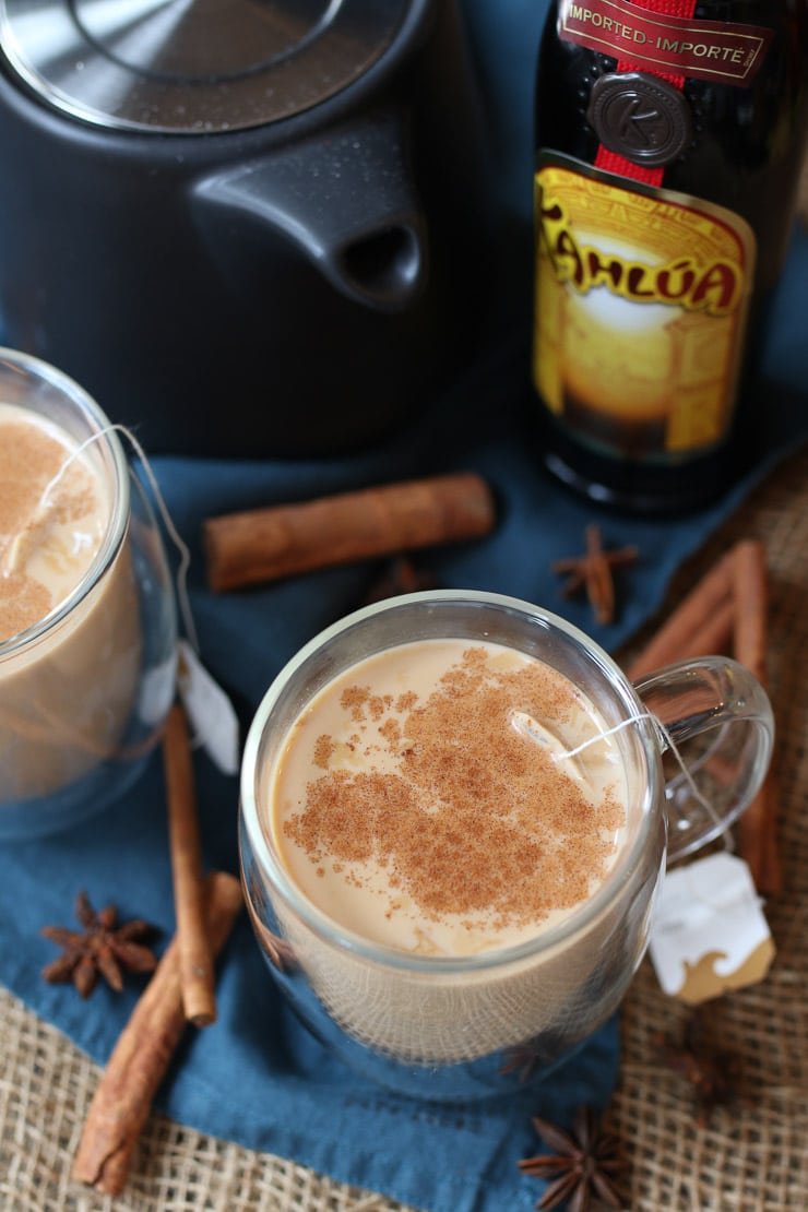 This Vegan Dirty Chai Tea Cocktail is the perfect holiday party drink recipe for entertaining, or for cuddling up around a fire on a chilly winter night!