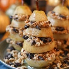TheseVegan Granola Layered Poached Pears are a delicious dairy free, gluten free, healthy, and easy holiday dessert for entertaining friends with diet restrictions!