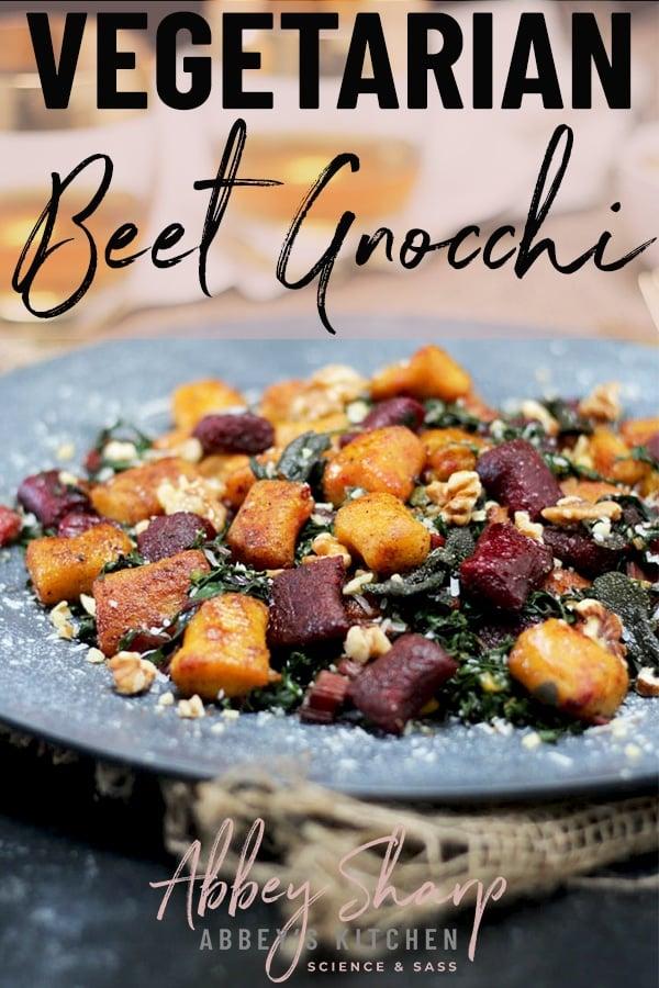 Beet gnocchi on a platter.