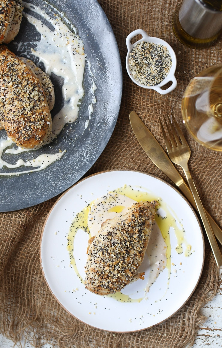 These Everything Bagel Chicken Breasts are an easy and delicious family friendly dinner recipe that are also keto friendly, low carb and gluten free.