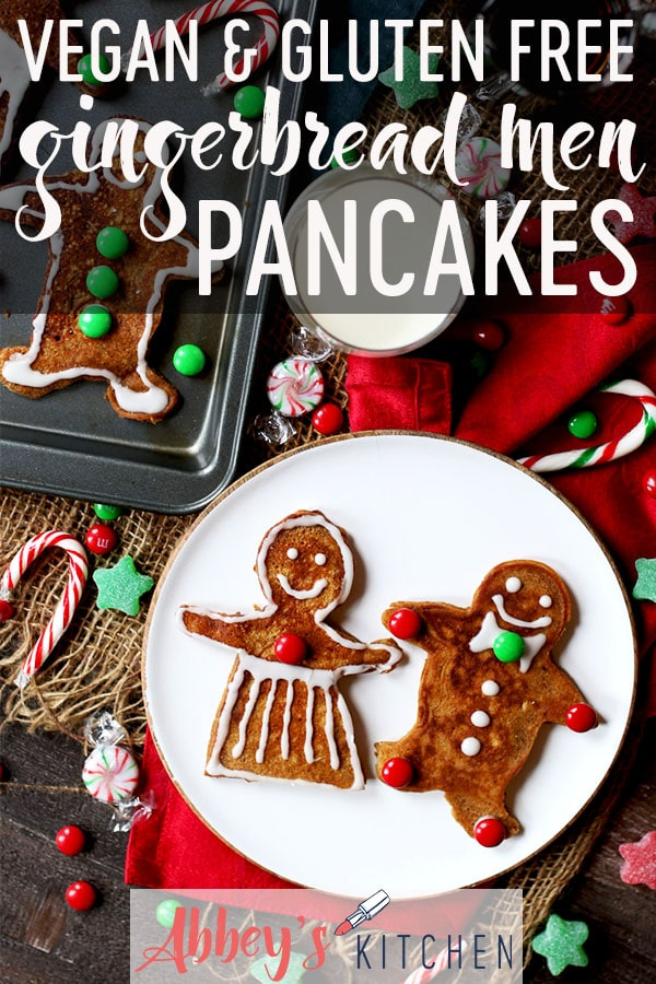 pinterest image of vegan and gluten free gingerbread man pancakes on a white plate with text overlay