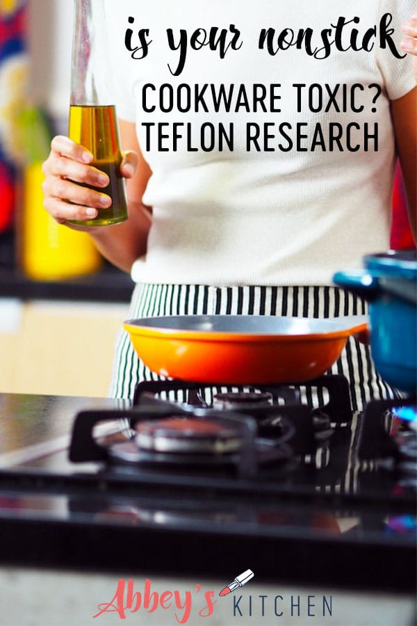 pinterest image of a person standing above a stove with a nonstick pan with text overlay