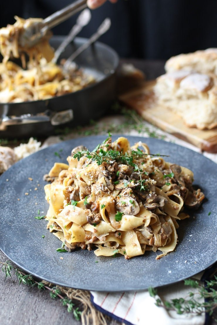 Vegan Mushroom Pasta With Healthy Creamy Sauce Abbey S Kitchen