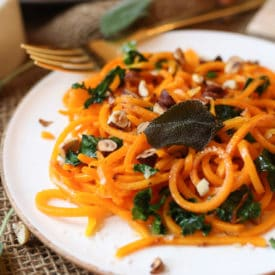 These Vegan Brown Butter Butternut Squash Noodles are the perfect Gluten Free Plant Based Zoodles recipe for an easy weeknight meal.