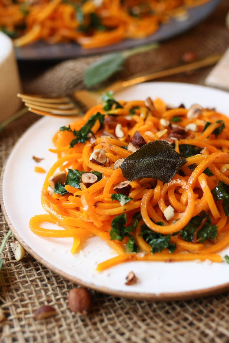 close up of vegan squash noodles with brown butter sauce