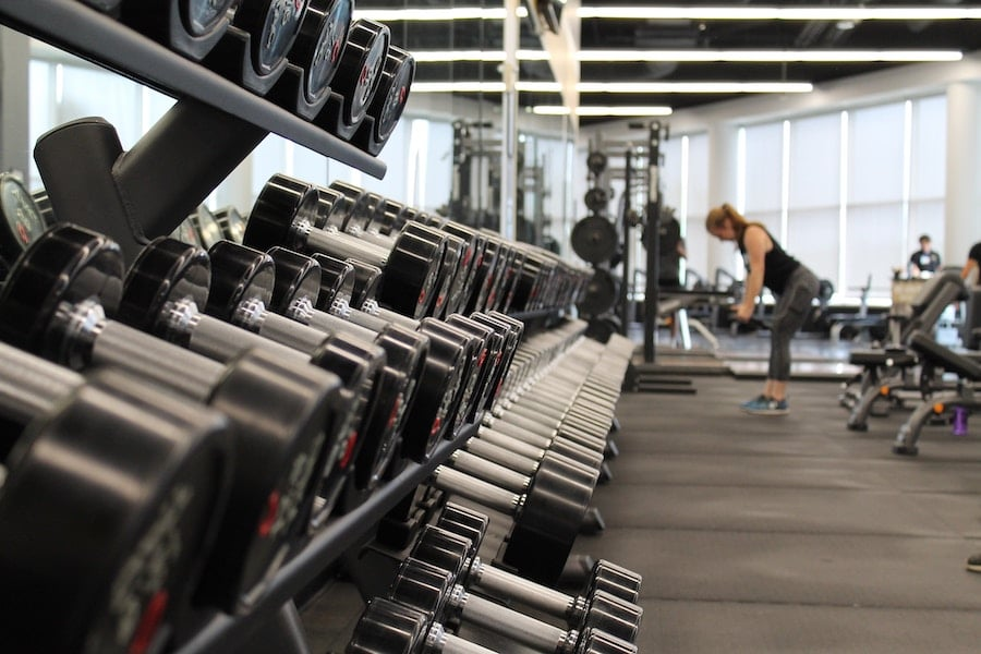 image of weight rack at a gym