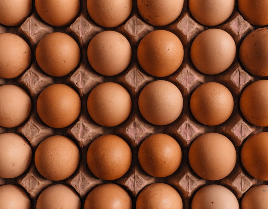 birds eye view of a carton of eggs