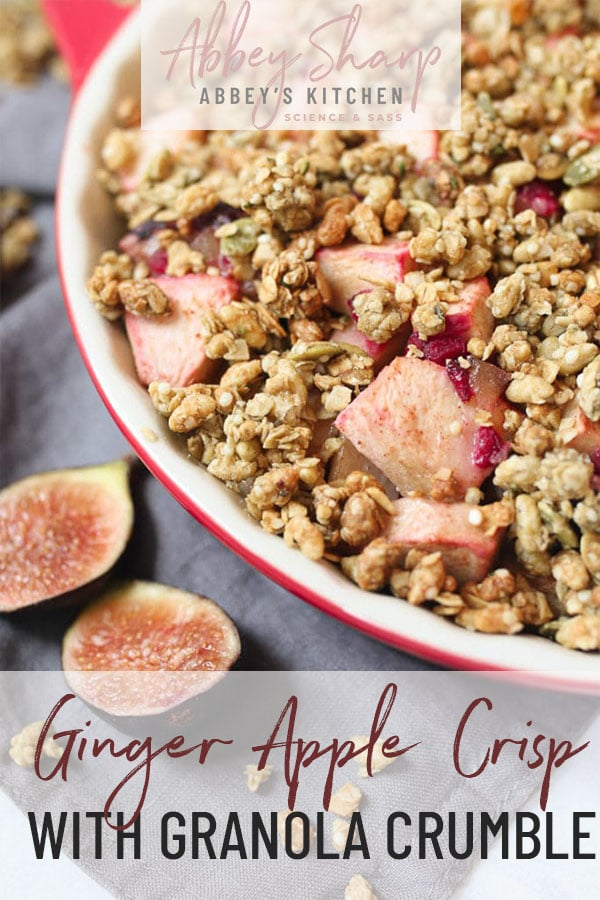 pinterest image of plated apple crisp with text overlay