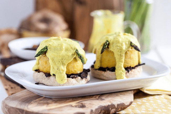 close up of soy-free vegan benedict on a white plate