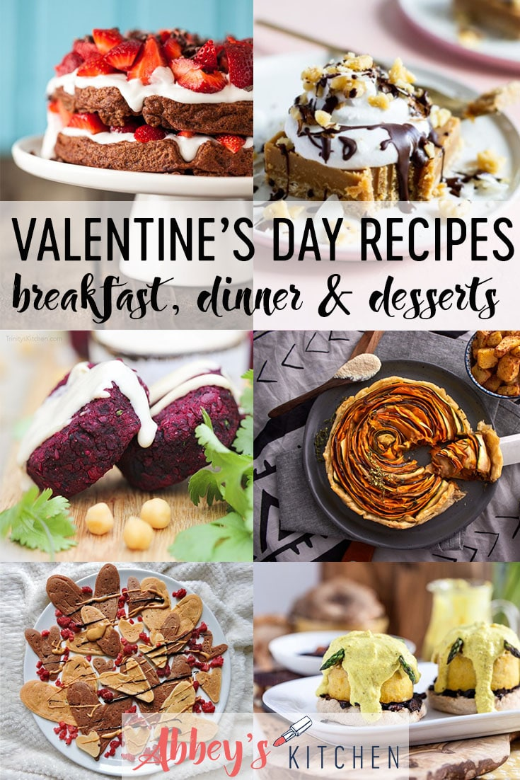 pinterest image of a variety of vegan valentines day recipes with text overlay