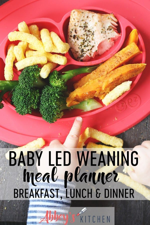 Baby playing with food next to a red plate with baby led weaning lunch.