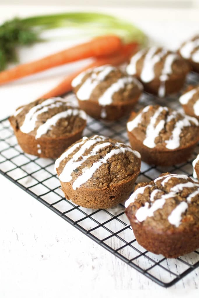 Carrot muffins on a wire rack from family meal plan.